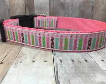 "Birthday Sale | The Make a Wish | Designer 1"" Width Dog Collar | CupcakePups Collars | Birthday Candles | Girly Birthday - Medium/Large"