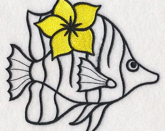 Fish Towel - Embroidered Fish Towel - Tropical Fish - Flour Sack Towel - Hand Towel - Bath Towel - Apron - Fingertip Towel