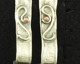 Sterling 925 Long Modernist Vintage Earrings with Copper Accent ~ Lot 1462