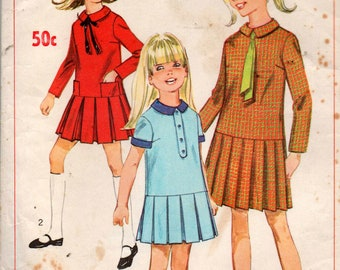 Simplicity 7286 Girls Drop Waisted Dress with Collar and Pleated Skirt 60s Vintage Sewing Pattern Size 8 or 12