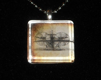 Steampunk Rotorship Glass Tile Necklace