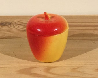 Vintage Glass Apple Container By Hazel Atlas Jam Container White Milk Glass  Platonite Red And Yellow