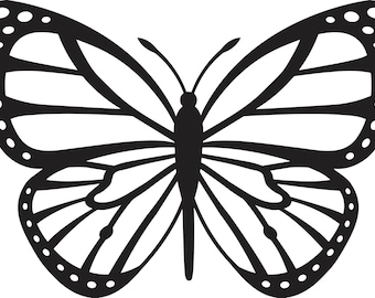 Butterfly Silhouette Decal Sticker - Flat Black- Free Shipping