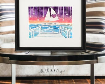 Sailboat Ocean Pier Personalized Papercut Watercolor, Customized Papercut Art, First Anniversary, Paper Anniversary, Wedding Keepsake Gift