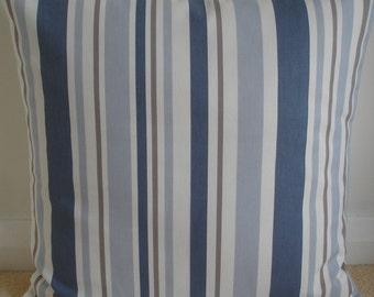 "Almohada de 26 x 26 tapa azul rayas marrón y crema 26"" Euro Sham amortiguador caso simulado Slip funda de almohada China francesa topo Beige rayas raya"