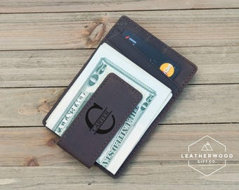 Leather Money Clip, Husband Gift, Personalized Leather Money Clip, RFID Money Clip, Boyfriend Gift, Gifts for Dad, Christmas Gift for Him