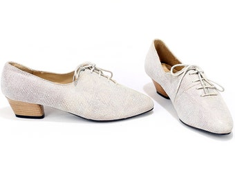 US women 7.5 Ugly Shoes Lace Up Speckled Grey Leather Shoes 80s Granny Shoes Mid Height Heel Comfortable Shoes Made in Germany . EUR 38 UK 5