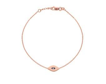 14k Gold Dainty Evil Eye Bracelet