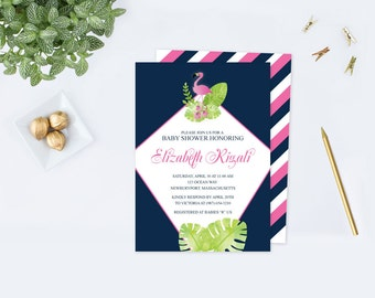 Pink Flamingo Baby Shower Invite, Acrobat Reader Template Editable Text, Printable, Lets Flamingle, Tropical Baby Shower, Luau, Watercolor