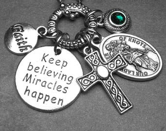 Keep Believing Miracles Happen Our Lady Untier of Knots Medal & Charm Necklace, Custom Birthstone, Catholic Jewelry Gift