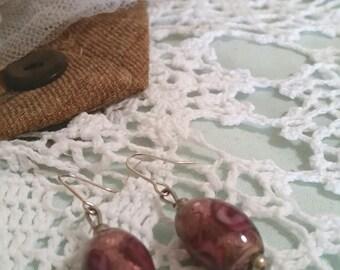 vintage foil bead earrings, pink foil beads, pink dangle earrings, victorian earrings, victorian costume