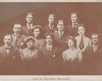 Grupo de Terre Haute Esperantistoj Esperanto Club Terre Haute Indiana Vintage Postcard