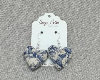 Earrings mini Blue vintage fabric hearts