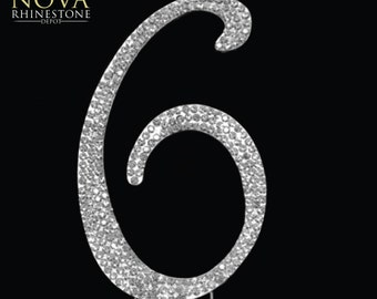 "Crystal Rhinestone Silver Number ""6"" Monogram Wedding Anniversary Cake Topper, Large"