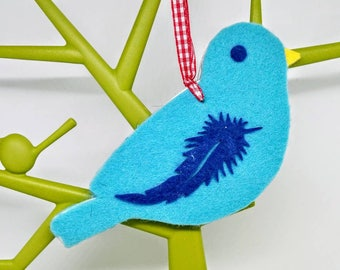 14.5x8cm BLUE AND TURQUOISE Handmade bird decoration, felt bird Christmas tree decoration, blue bird decorations, bird Christmas decoration
