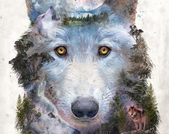 Moon Wolf Pack surrealism animal wolves forest mountains digital art signed premium quality giclée print