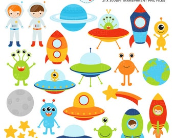 Outer Space Clipart Set - clip art of aliens, spaceships, astronauts, space, planets - personal use, small commercial use, instant download