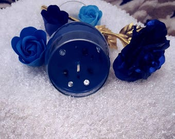 FLASH SALE!! Wine glass blue scented soy wax candle