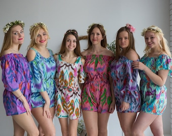 Ikat Aztec Pattern Mismatched Rompers By Silkandmore - Alternative to Bridesmaids Robes, Bridesmaids Gifts, Bridesmaids Rompers