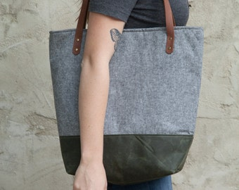 Large Tote Bag in Charcoal Linen with Waxed Canvas bottom