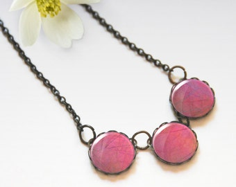 Pink necklace, Glass dome necklace, Chunky bib necklace, Trio necklace, Boho jewelry for women, 5089-1, Mother's day gift