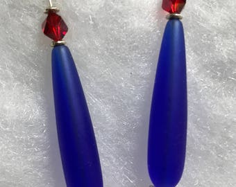 Earrings - Dark Blue Seaglass with red highlights