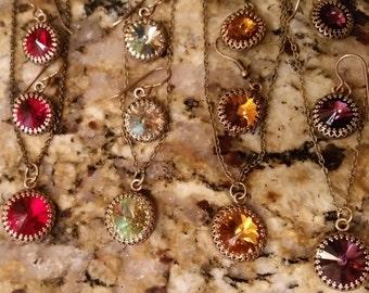 Swarovski Necklace & Earrings Antique Brass