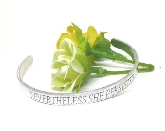 Nevertheless she persisted   Bible Verse Bracelet   engraved bracelet   Christian Bracelet