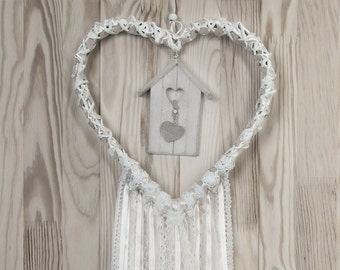 Wedding Decor White Beige Heart  Lace Dreamcatcher Shabby Chic Modern rustic decor wall hanging wall decor shabby home decor peacock feather