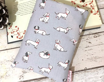 Dogs Paperback Book Buddy, Small Book Sleeve, Book Lover Gift, Bookish Accessories, Cushioned Book Cover, Cath Kidston Dachshund Fabric