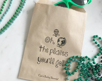 Baby Shower Favor Bags - Oh the Places You Will Go! - Favor Bags - Custom Printed on Kraft Brown Paper