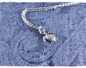 Tiny Silver Sea Turtle Necklace - Antique Pewter Sea Turtle Charm on a Delicate Silver Plated Cable Chain or Charm Only