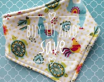 Buy 10 and save - boys and girls cotton or bamboo bandana dribble bib (choose backing fabric)