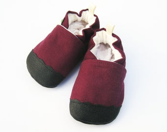Organic Vegan Heavy Canvas Plum / non-slip soft sole baby shoes / made to order / Babies Toddler Preschool