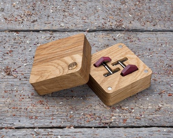 Wood Cufflinks in gift box, free shipping Hexagon Purpleheart cufflinks, Wedding Cufflinks, cufflinks for men, groomsmen, customized engrave