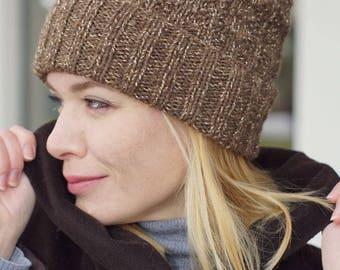 Hand knitted autumn winter hat -  women hat urban wool hat with lurex