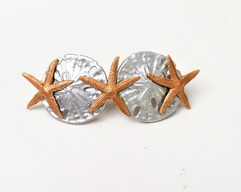 Sea Shell Hair barrette, Shell hair clip, Starfish, Sand dollar, Not real shells