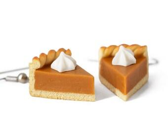 Pumpkin Pie Earrings, Cake Earrings Pie earrings Food Jewelry Pumpkin Earrings Miniature Realistic Food Halloween Jewelry Fall Accessories