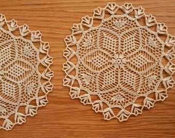 Lace crochet doily, ecru, white or burgundy table topper, round centerpiece with floral motifs, lace wedding table decor, 8 inch lace doily