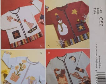 OUT of PRINT McCall's Pattern M4735 Seasonal Appliques for Sweatshirt