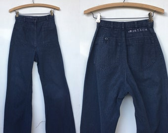 Vintage 70s Navdungaree Bell Bottom High Waist Wide Leg Pants 24 x 32