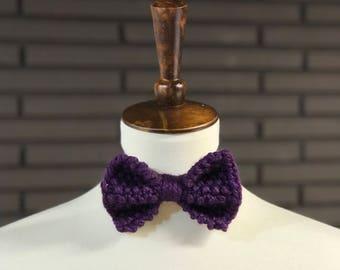 Knit Bow Tie - Dark Purple