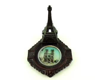 French Vintage Paris Souvenir Eiffel Tower Ashtray With Image Of Notre Dame/Trinket Dish