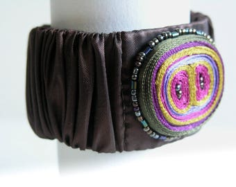 Textile bracelet brown purple, fabric cuff beaded, bracelet brown, brown cuff bracelet, gift for woman, gift for her - Textile jewelry