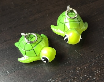 Green Sea Turtle Pendants -- Set of 2