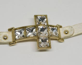 Lovely white leather and crystal cross bracelet