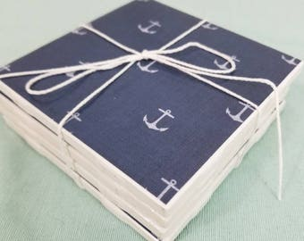 Handmade Tile Coasters set of 4 - Anchor patterned