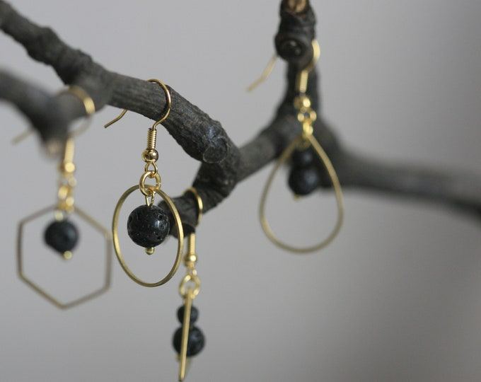 Minimalist Lava Bead Earrings | Aromatheraphy Jewellery | Minimalist | Geometric | Gift