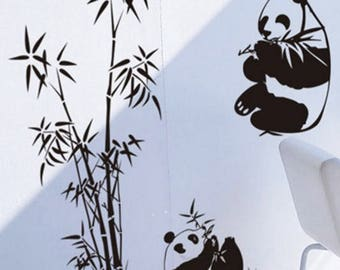 Panda and bamboo wall sticker