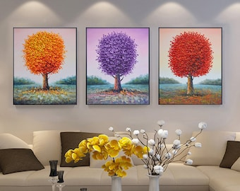 Big Hand-painted orange purple red tree wall art living room dining room decor thick palette knife painting painting on canvas art by Lisa
